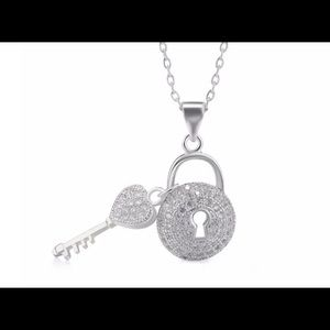 Key Lock Copper necklace with platinum plated!